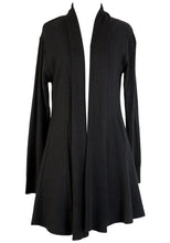 Load image into Gallery viewer, RENIA RIB FLARED CARDI - BLACK