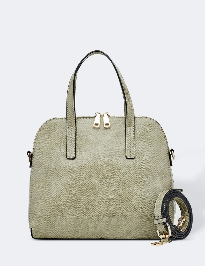 Load image into Gallery viewer, LOUENHIDE CANDICE LIZARD BAG- KHAKI