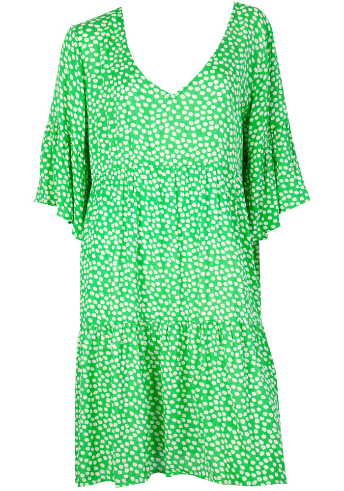 Load image into Gallery viewer, CARLY TIERED DRESS - GREEN DAISY