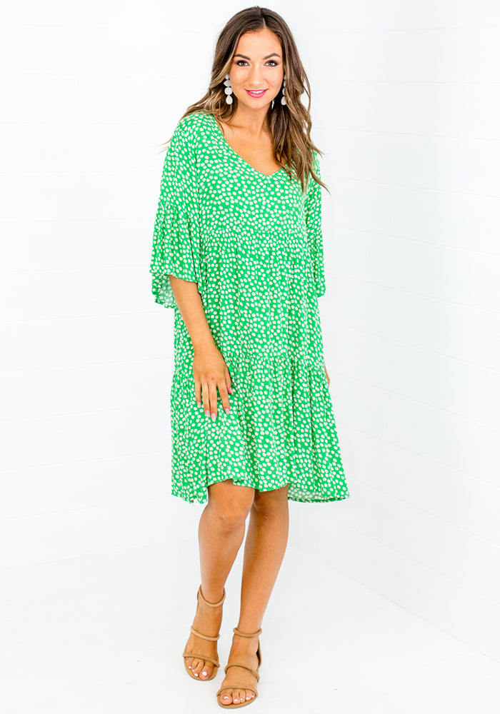 CARLY TIERED DRESS - GREEN DAISY