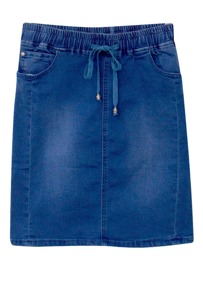 Load image into Gallery viewer, AGNES STRETCH DRAWSTRING WAIST DENIM SKIRT