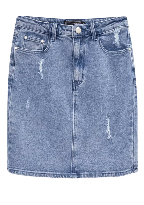 BONDI STRETCH DISTRESSED DENIM SKIRT