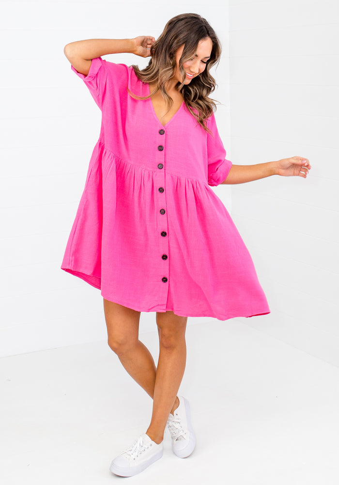 CHARLTON LINEN BUTTON THROUGH DRESS - HOT PINK