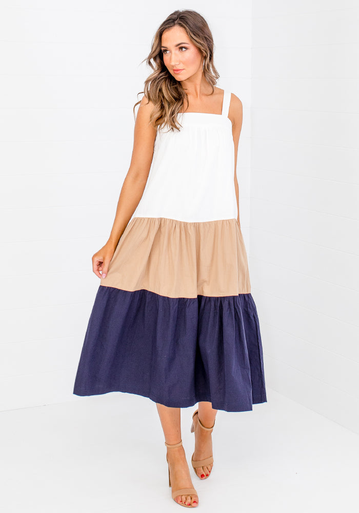 CLAUDIA COLOUR BLOCK MIDI - NAVY