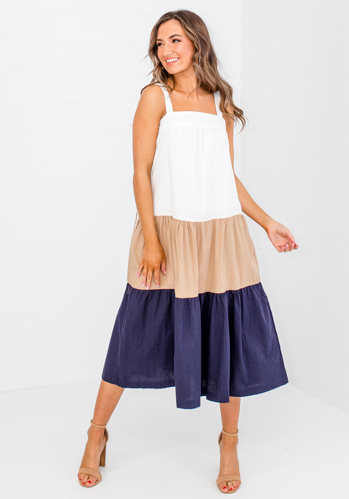 Load image into Gallery viewer, CLAUDIA COLOUR BLOCK MIDI - NAVY