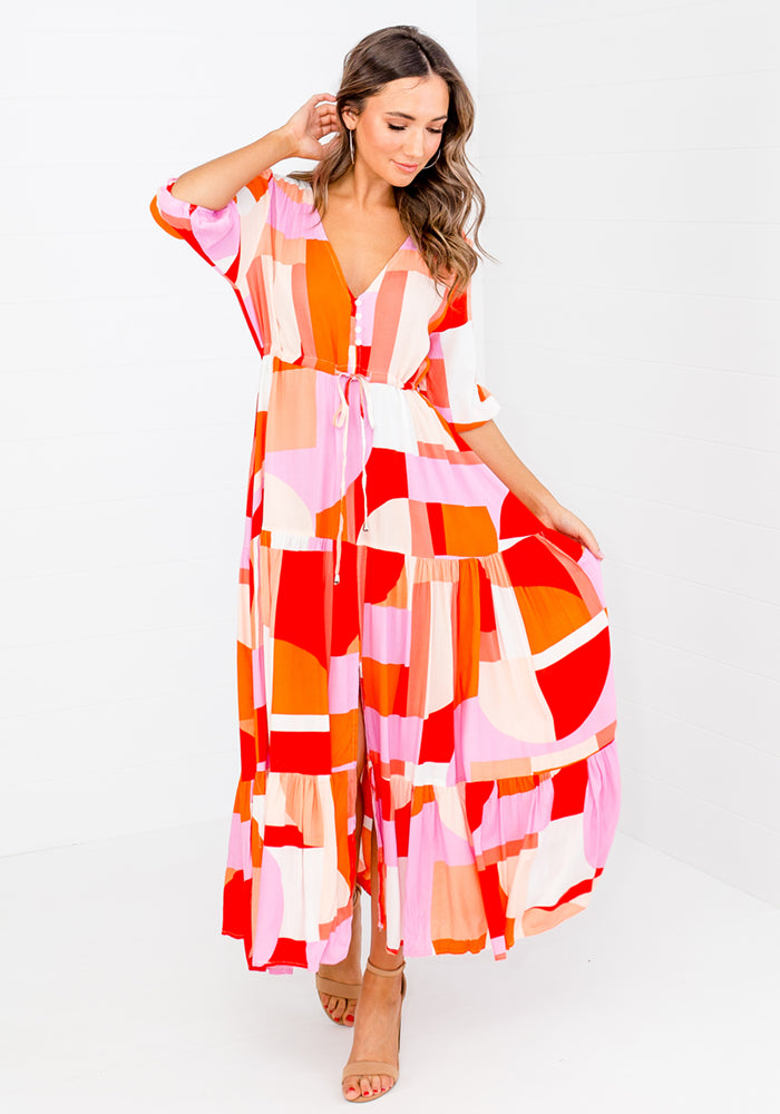 Load image into Gallery viewer, CUBISM BUTTON THROUGH MAXI DRESS
