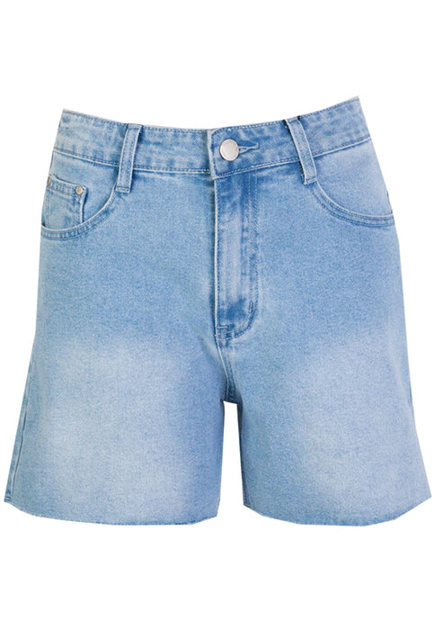 DEMI RAW EDGE HIGH WAISTED DENIM SHORTS