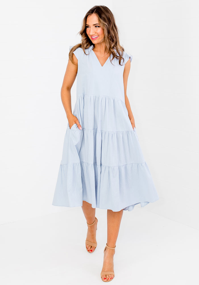 Load image into Gallery viewer, ELLIS TIERED COTTON DRESS - CORNFLOWER BLUE