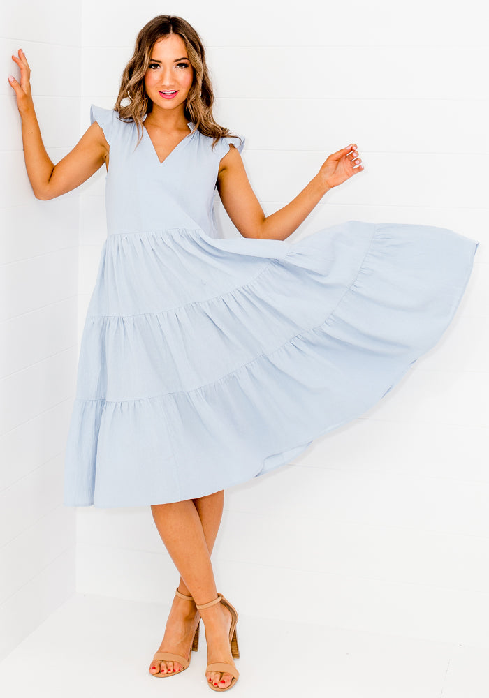 ELLIS TIERED COTTON DRESS - CORNFLOWER BLUE