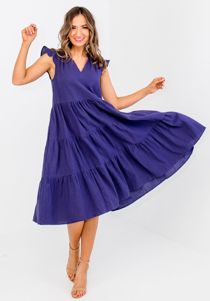 Load image into Gallery viewer, ELLIS TIERED COTTON DRESS - NAVY