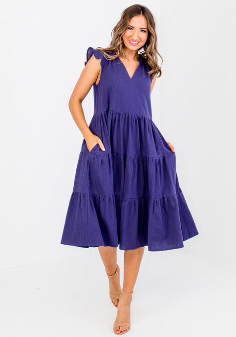 ELLIS TIERED COTTON DRESS - NAVY