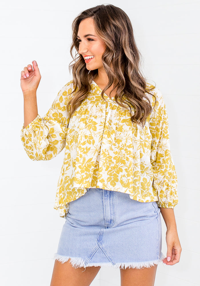 GERMAINE PRINT BLOUSED TOP