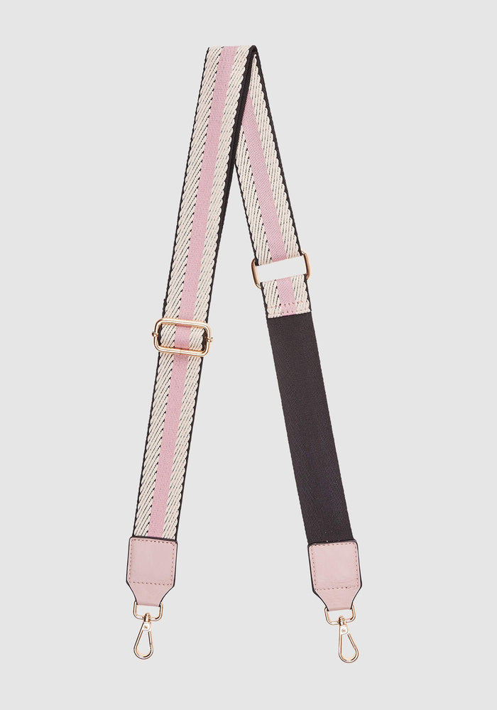 LOUENHIDE GILLY GUITAR STRAP - PINK BLACK STRIPE