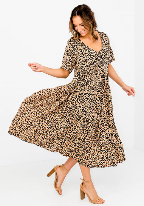 PEAK MIDI DRESS - HUXLEY LEOPARD PRINT