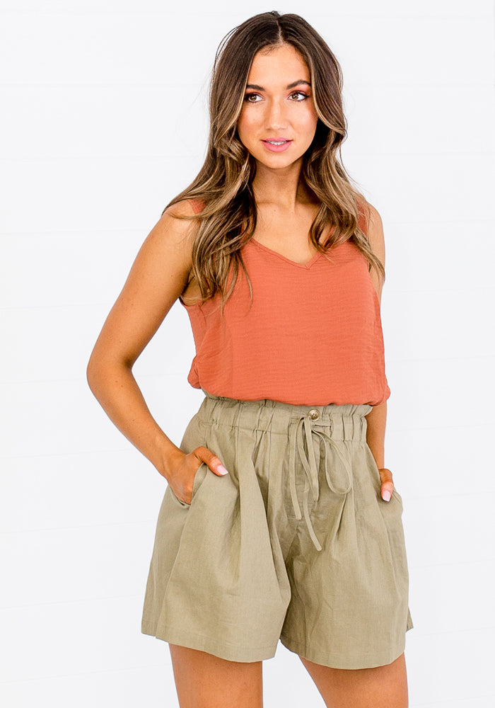 JACQUELINE LINEN HIGH WAISTED SHORTS - KHAKI