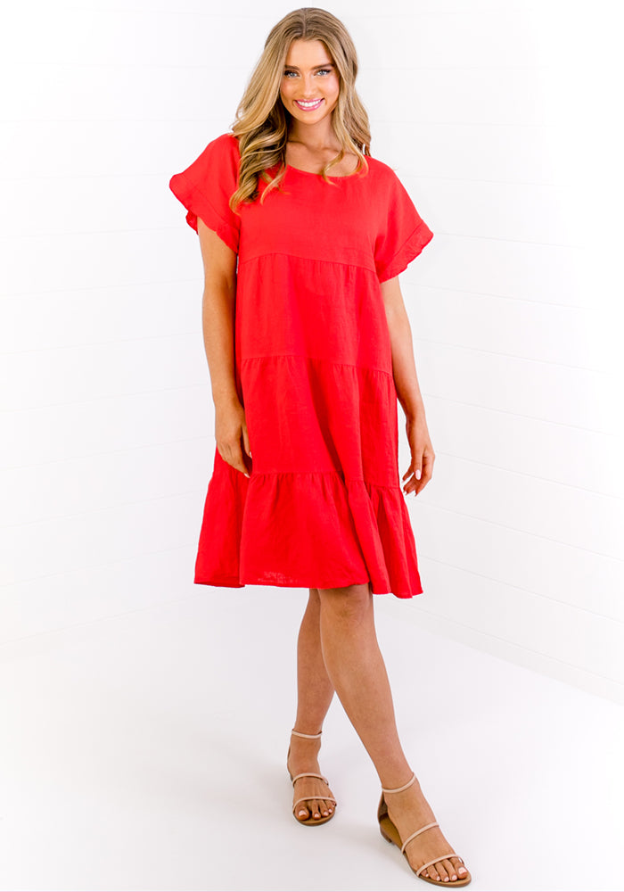 Load image into Gallery viewer, JAHRA LINEN DRESS - RED