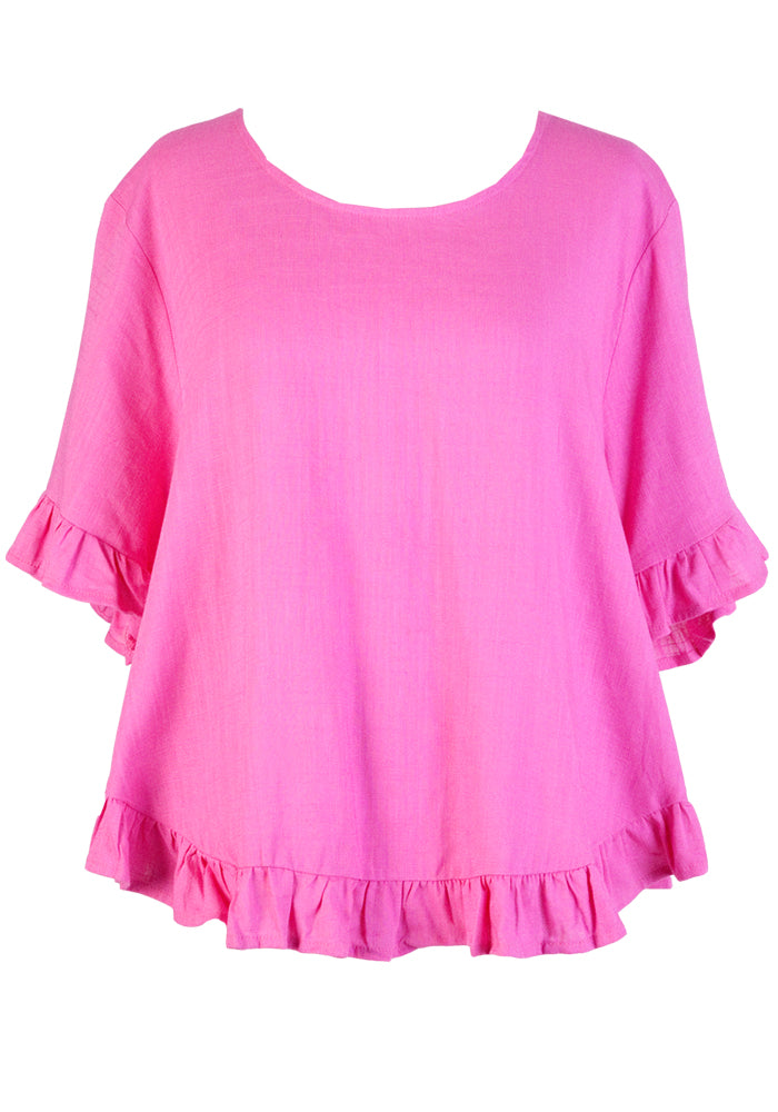 JAYNIE FRILL EDGE TOP - PINK