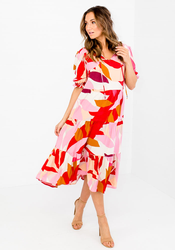 JAZZ PRINT TIERED MIDI DRESS