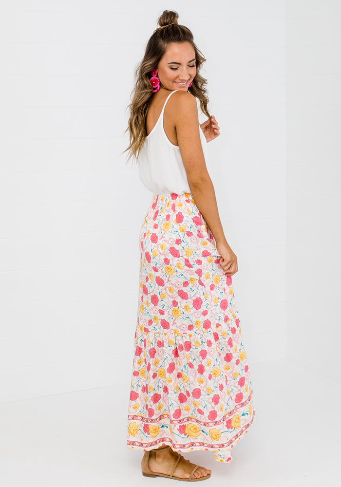 Load image into Gallery viewer, JENKO BORDER PRINT MAXI SKIRT