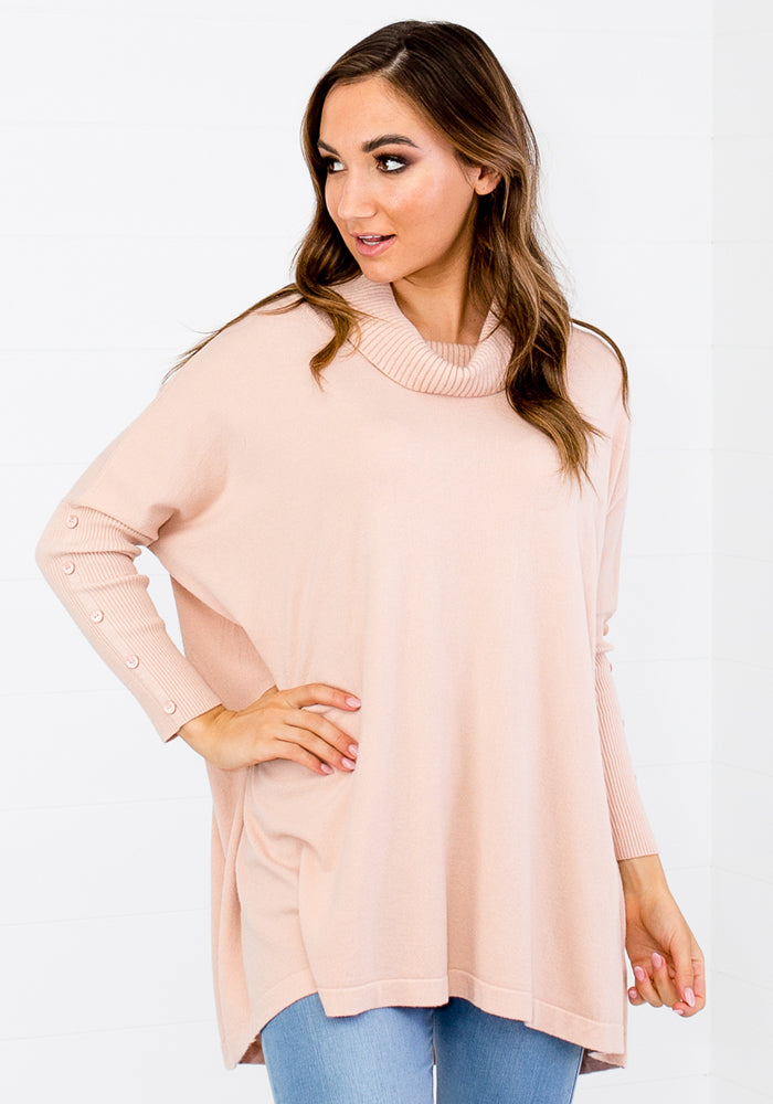 KARINA ROLL NECK KNIT - BLUSH