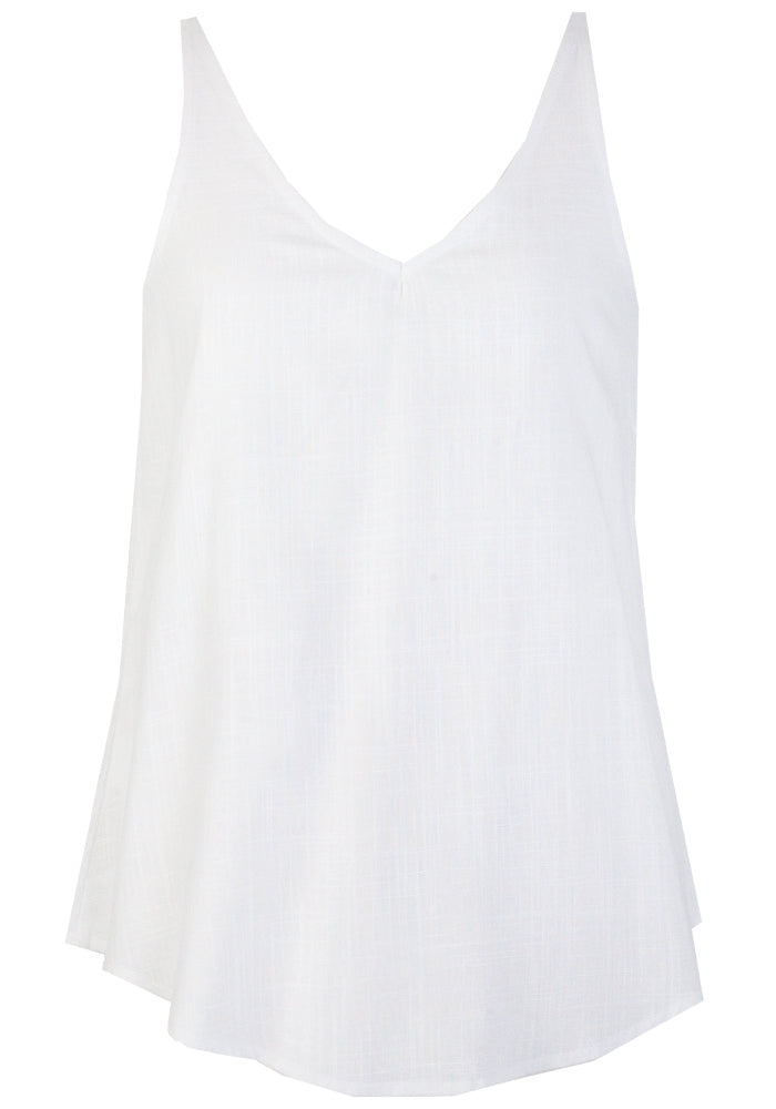 Load image into Gallery viewer, KARLA LINEN REVERSIBLE CAMI - WHITE