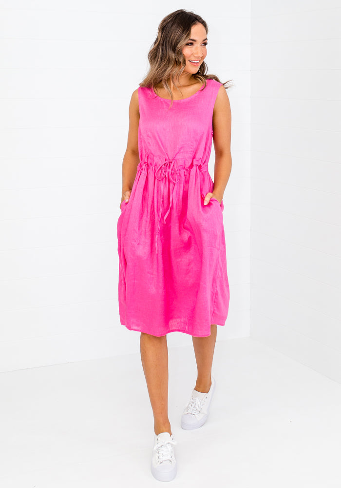 Load image into Gallery viewer, KAVA TIE WAIST LINEN DRESS - HOT PINK