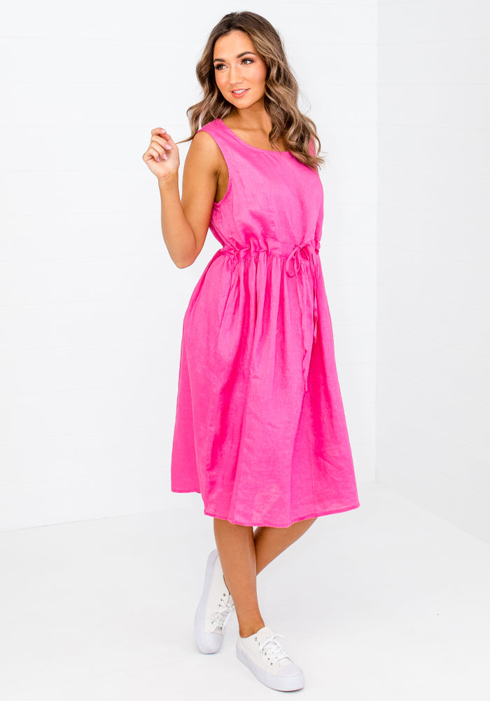 KAVA TIE WAIST LINEN DRESS - HOT PINK