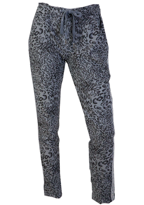 KAVALLA STRETCH PULL ON PANTS - CHARCOAL LEOPARD