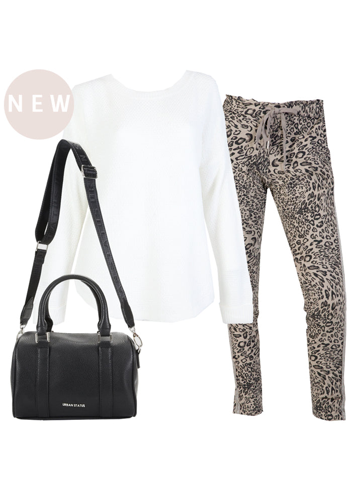 KAVALLA LEOPARD PRINT STRETCH PULL ON PANTS - MOCCHA