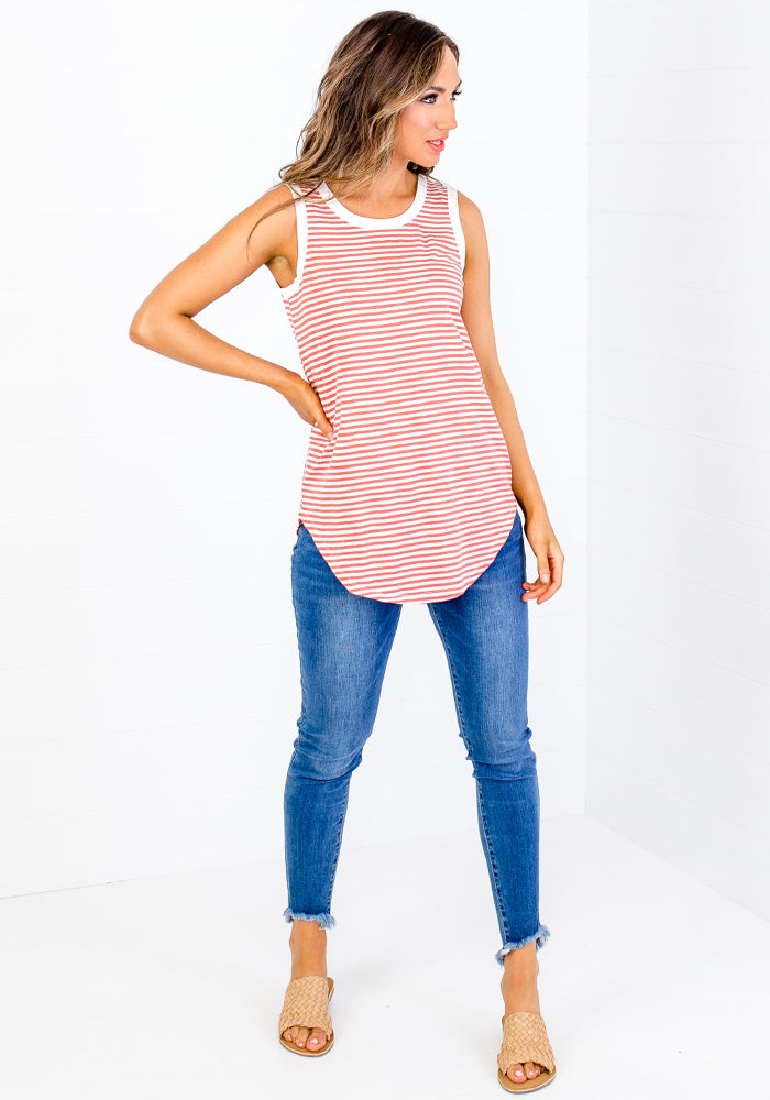 Load image into Gallery viewer, BETTY BASIC KEIRA TANK - TANGELLO STRIPE