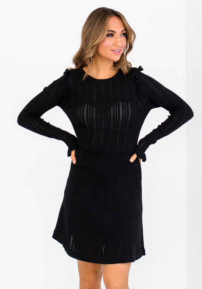 Load image into Gallery viewer, KENZI KNIT MINI DRESS - BLACK