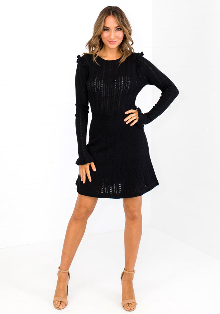 KENZI KNIT MINI DRESS - BLACK