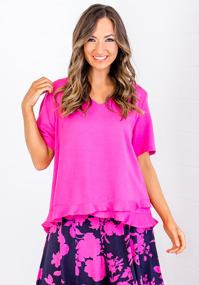 Load image into Gallery viewer, KIKI FRILL HEM TOP - HOT PINK