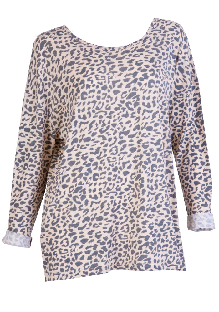 KODI RELAXED TEE- PINK AND GREY LEOPARD