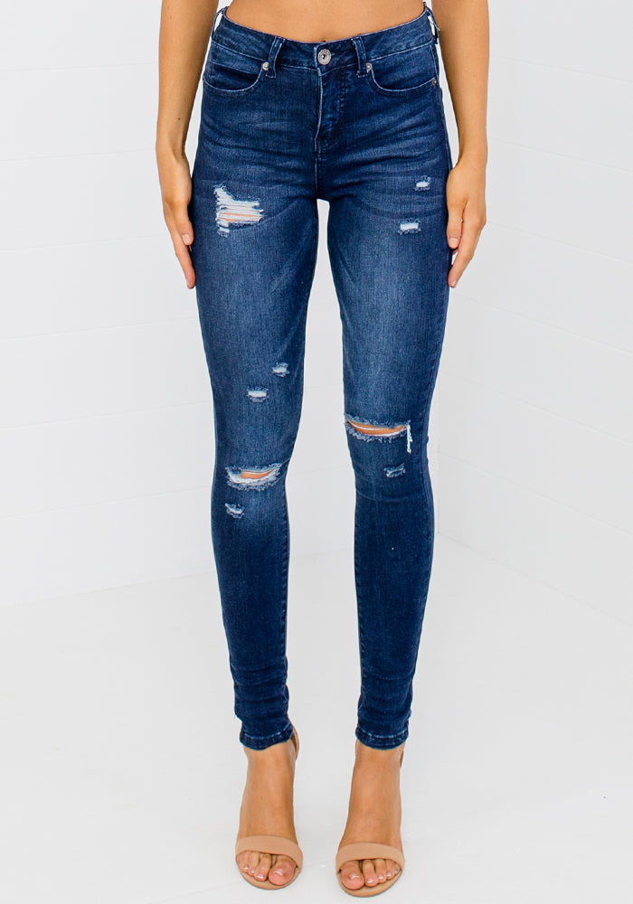 Load image into Gallery viewer, KYLIE DARK WASH DISTRESSED JEAN