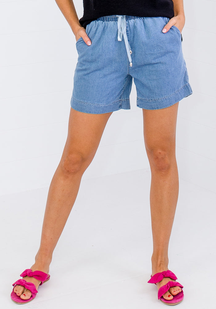 LARA CHAMBRAY SHORTS - DARK WASH