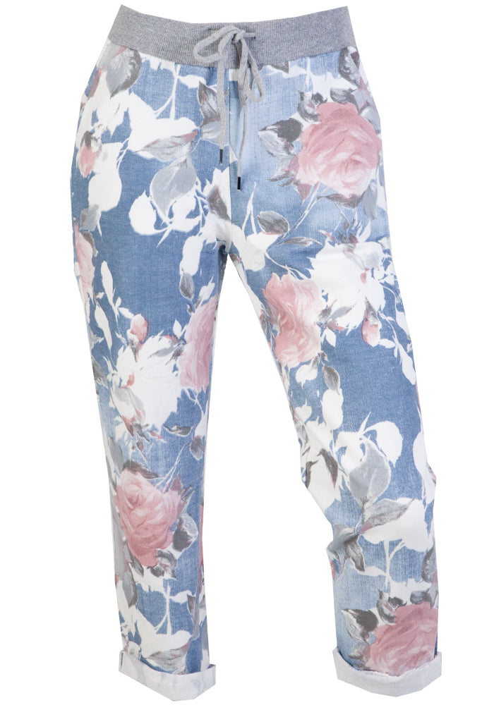Load image into Gallery viewer, LIPARA PULL ON PANT - LIGHT PINK FLORAL