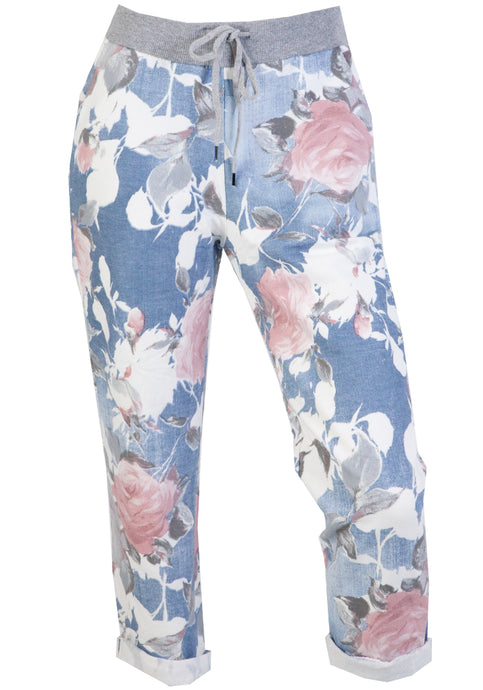 LIPARA PULL ON PANT - LIGHT PINK FLORAL