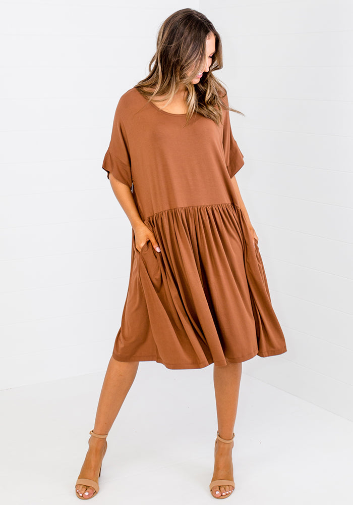 BAMBOO LOPEZ DRESS - TOFFEE