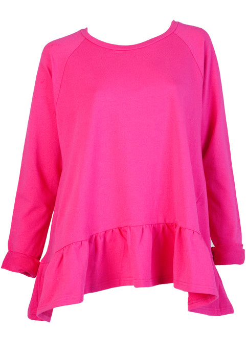 LOVE TRAP FRILL HEM SWING SWEATER - HOT PINK