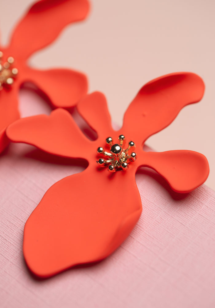 ZAFINO - LARGE ORCHID FLOWER STUD EARRINGS - CORAL