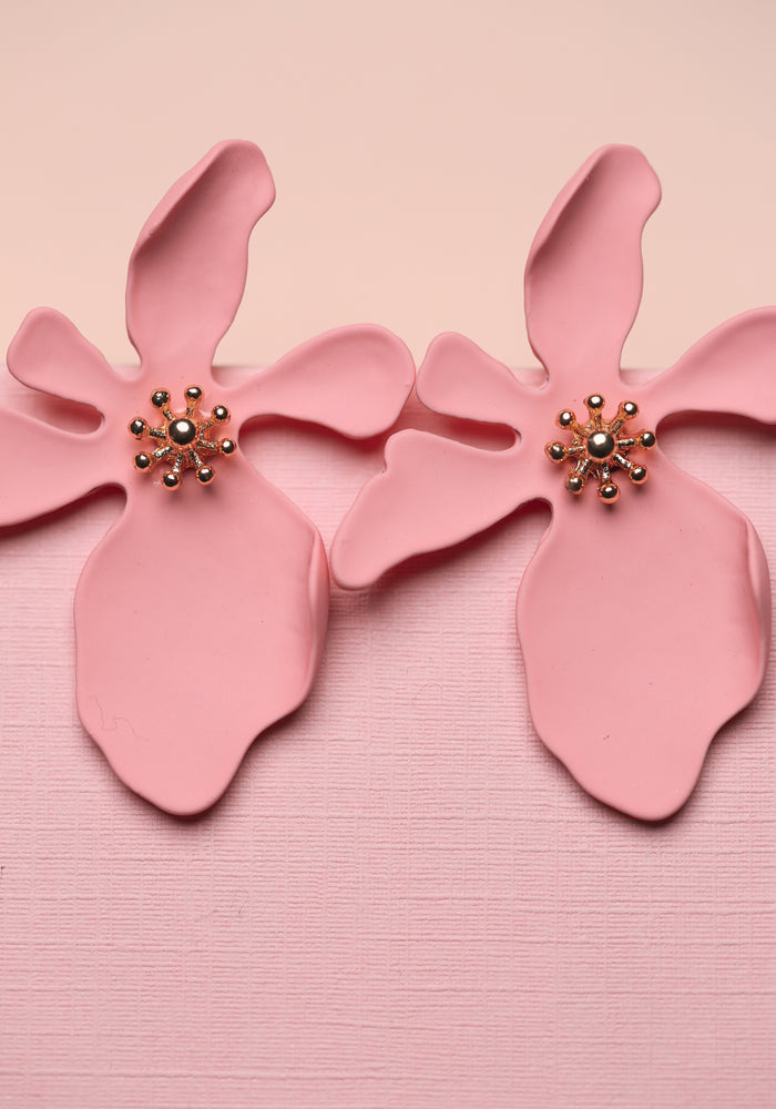 ZAFINO - LARGE ORCHID FLOWER STUD EARRINGS - PINK