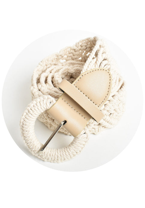 MACRAME COTTON WEAVE BELT - CREAM