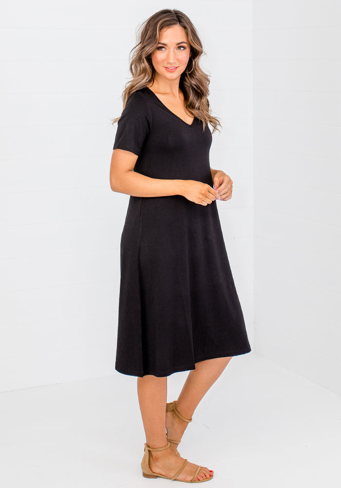 BAMBOO MADONNA DRESS - BLACK