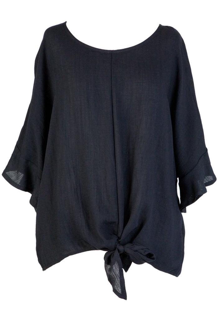 MAGGY FRILL SLEEVE TIE TOP - BLACK