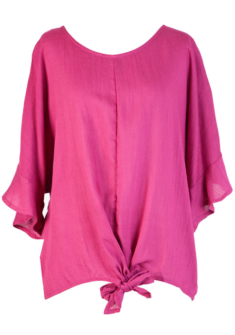 MAGGY FRILL SLEEVE TIE TOP - MAGENTA