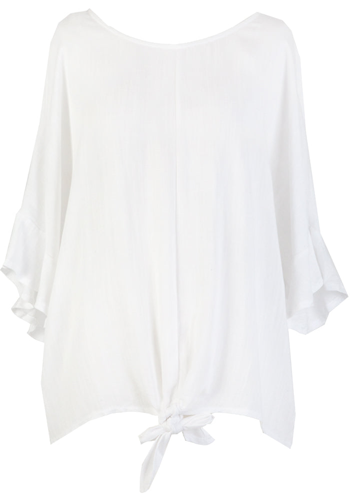 MAGGY FRILL SLEEVE TIE TOP - WHITE