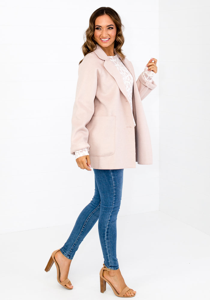 MAHANA LUXE FELT COAT WITH BUTTONS