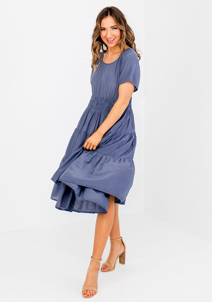 Load image into Gallery viewer, MAIDEN SHIRRED WAIST MIDI DRESS
