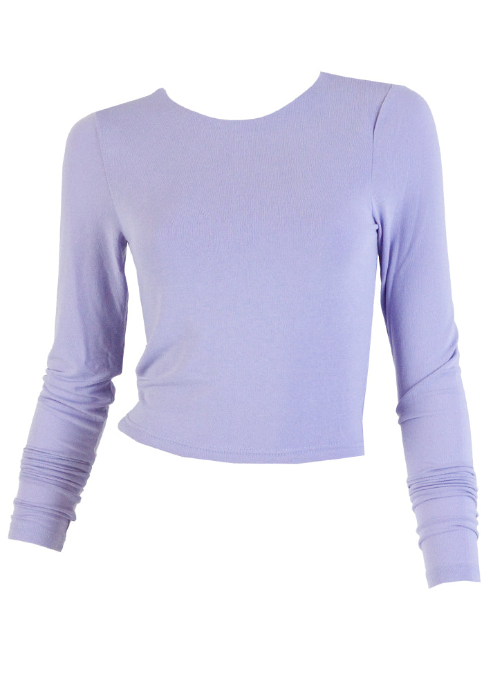 Load image into Gallery viewer, MAISIE FITTED CROP STRETCH TOP - LILAC